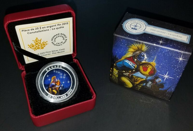 2015 canada 1 oz silver glow in the dark star charts the quest coin