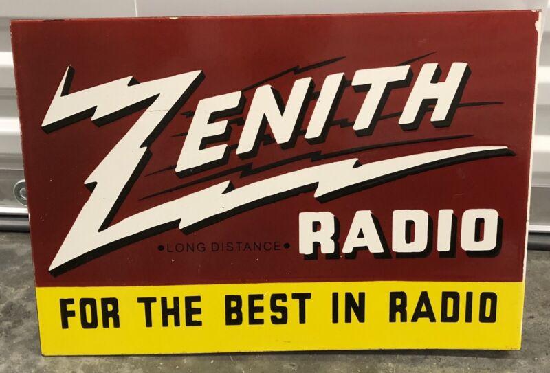 "VINTAGE ZENITH RADIO FLANGE DOUBLE SIDED 19"" PORCELAIN GAS OIL SIGN!"