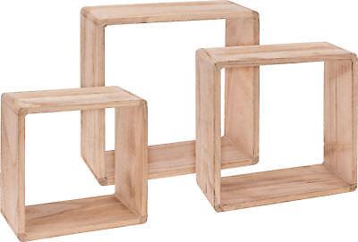 Würfel Wandregal 3er Set aus Holz - 30/27/24 cm - Cube Hängeregal Würfel Regal ()