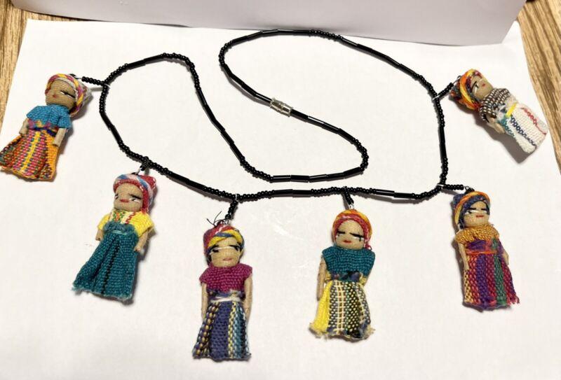 Vintage OOAK Handmade South American Guatemala 6 Ladies Ethnic Costume Necklace