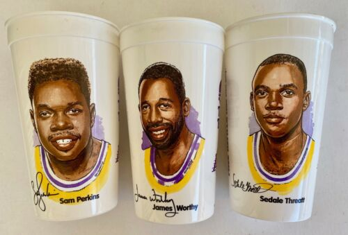 Lot of 3 Lakers Taco Bell Souvenir Cups Worthy, Perkins, Threatt  all are clean