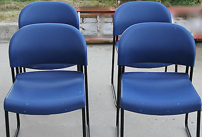 4 Blue Hon Stack Chair Wpainted Legs -h403121 12 21 Copolymer Resin Seat