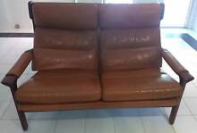 Set of Two Brown Leather Sofas Middle Cove Willoughby Area Preview