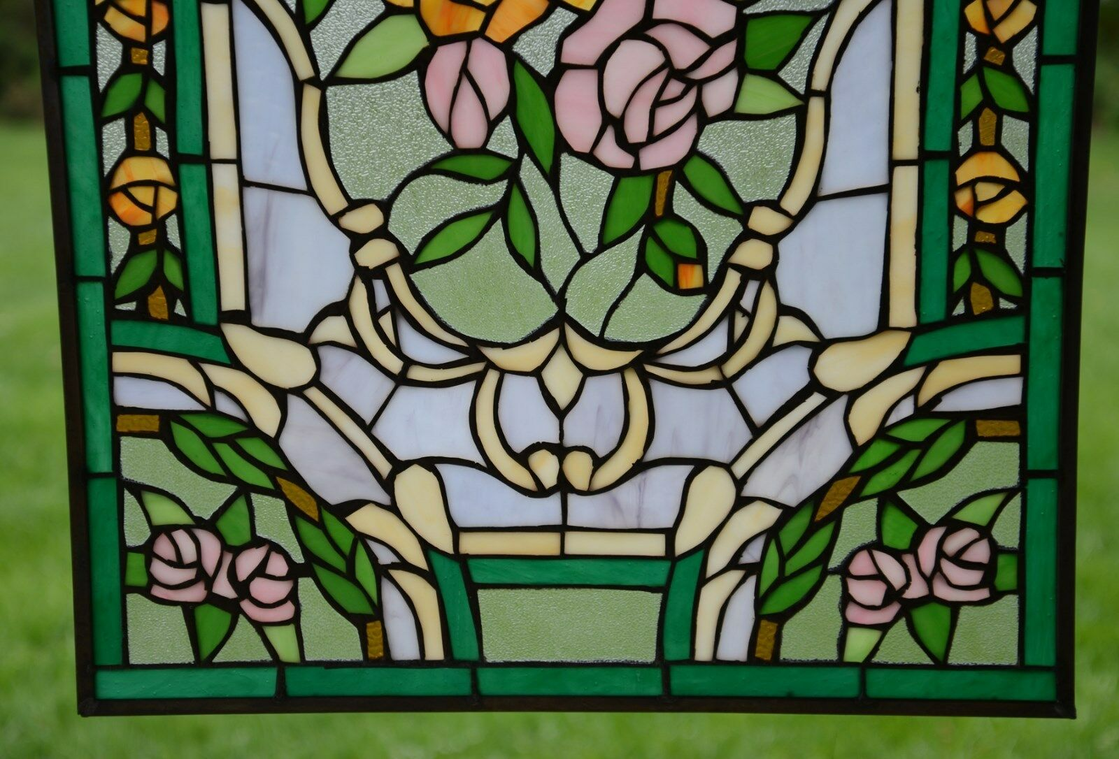 rose flower tiffany style stained glass window panel 20 x 34