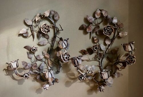 PAIR ITALIAN TOLE GORGEOUS SHABBY CHIC ROSES