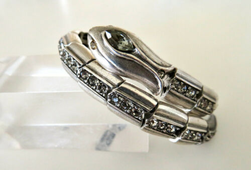 Fantastic Vintage Retro Silver Plated Rhinestone Stretch Snake Bracelet