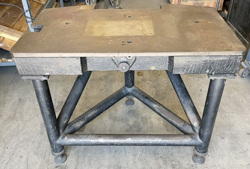 """3/4"""" Thick Cast Iron Welding Fabrication Table Steel Workbench Stand Vintage"""