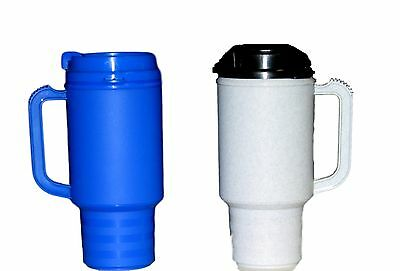 2 Coffee Cup Travel Mugs- Mugs hold 18 Ounces 1 each Blue & Granite Made in USA* (Coffee Mugs In Bulk)