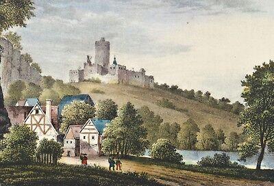 Schloß Schloss Schönburg an der Saale Original Lithografie Saxonia 1837 Castle