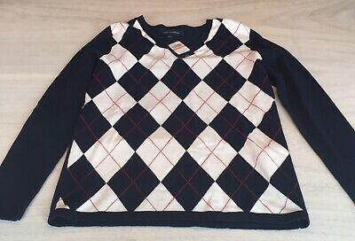 NWT! Tommy Hilfiger Navy Argyle Sweater SzS