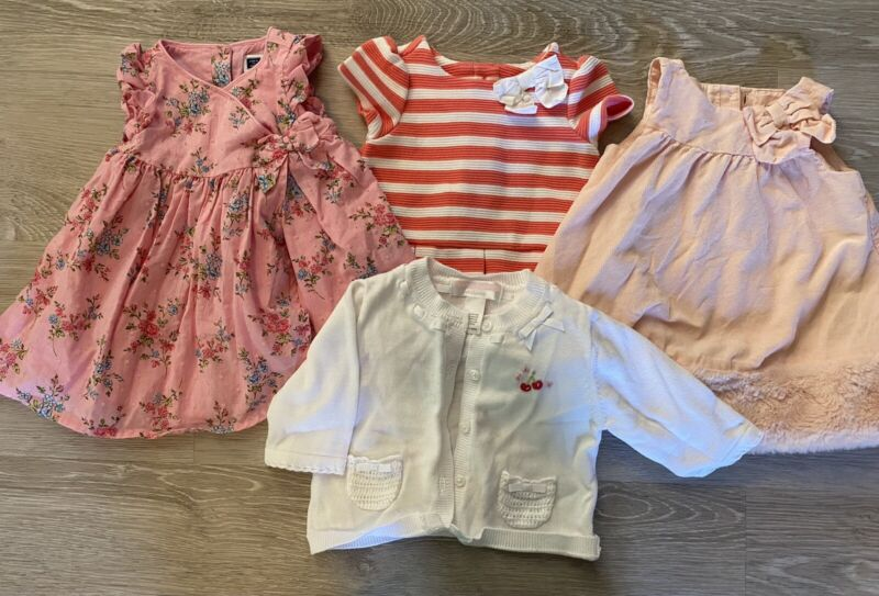 Janie And Jack Lot Baby Girl O-3 Month Newborn Dress 4 Pieces