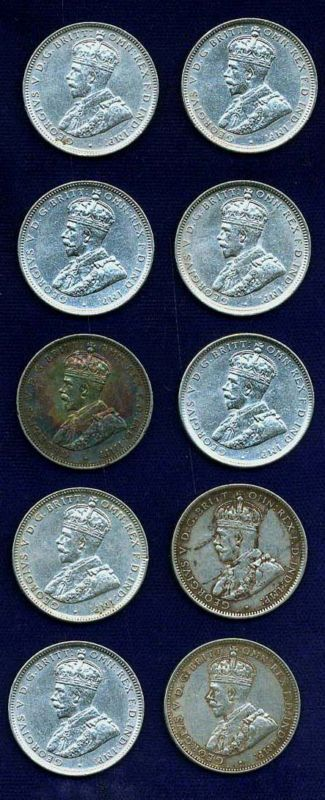 AUSTRALIA GEORGE V 1917-M  1 SHILLING SILVER COINS (10), MOSTLY XF