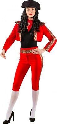 Damen Deluxe Rot Matador Bulle Kämpfer Spanisch Kostüm Outfit