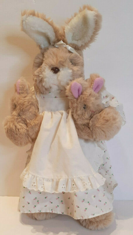 """Vtg. Russ Mama Bunny 16"""" Plush Toy *Dress Apron Bloomers Holds 2 Babies #902"""