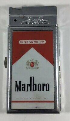 Vintage Marlboro Cigarette Dispenser, Torch Lighter, Metal Holder Case Red