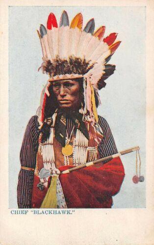INDIAN CHIEF BLACKHAWK, POSED IMAGE, WEARING HEADDRESS & HOLDING PIPE 1903-06