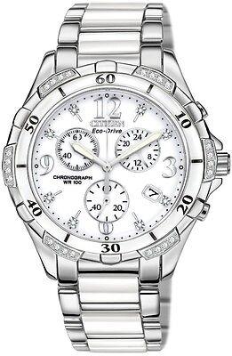 New Citizen Eco-Drive Diamond Stainless & White Ceramic Women's Watch FB1230-50A