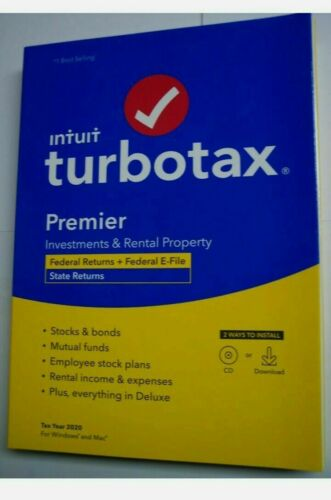 Intuit Turbo Tax 2020 Premier Federal E-file - State - Mac/Windows - Disc NEW !!