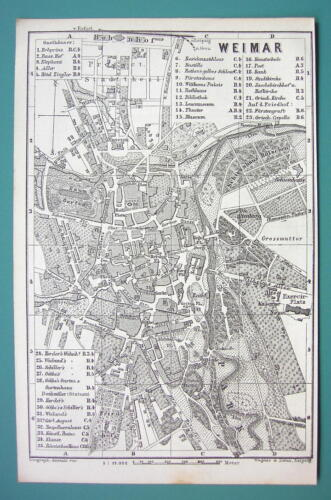 1884 MAP Baedeker - GERMANY Weimar City Plan