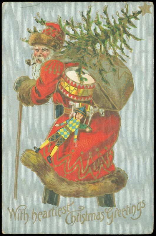 DEC 2_ 1908 Picture Postcard, SANTA W/Pipe, Toy Sack Drum, Doll & Tree! SHIMMERS