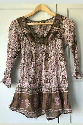 Vintage Indian 70s Gauze Smock Blouse Dress XXs Or Childs ? Phool