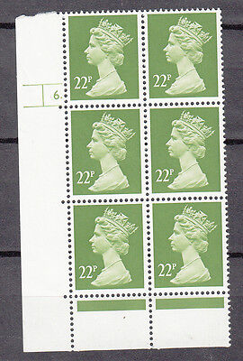 22p Yellow-Green Cylinder Block 6 dot MNH