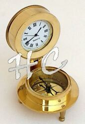 Roman Numeral Brass Desk Clock With Marine Compass Nautical Maritime Pocket Gift