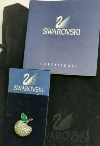 Swarovski Green Crystal Apple Brooch with Pouch COA
