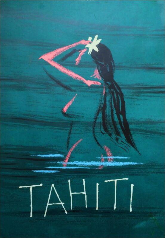 French South Seas Islands Bora Bora Tahiti Vintage Travel Advertisement Poster