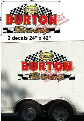 2 Pack Custom Racing Team Your Name Vinyl Decals Color For Trailer 24 X 42