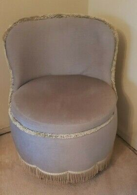 Vintage Bedroom Chair ~ Nice Pale Green Velour Type Fabric Dressing Table Chair