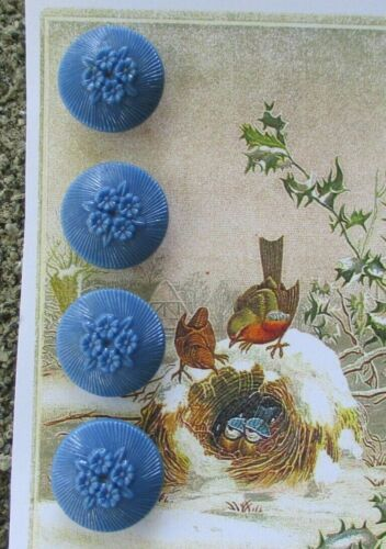 """Set of 4~Vintage 3/4"""" Yale blue Victorian Flower   Glass Buttons ~new/old stock"""