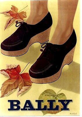 Original vintage poster BALLY SHOES LADIES FASHION c.1945