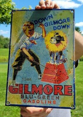 """VINTAGE OLD DATED 1946 GILMORE """"BLU-GREEN GASOLINE"""" PORCELAIN ENAMEL GAS SIGN"""