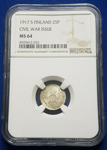 1917-S Finland under Russia Silver 25 Pennia NGC MS64 - A19