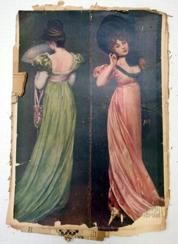 Antique German Die Modenwelt Fashion Magazine w/Sewing Pattern Embroidery Insert