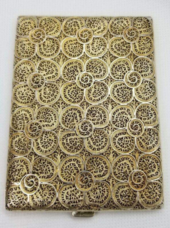 Sterling Silver Filigree with light gold wash Wallet/Cigarette Case