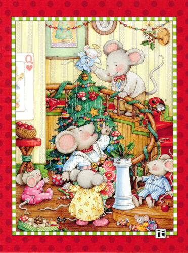 Mary Engelbreit-MOUSE FAMILY Tree Angel-Blank Christmas NoteCard w/Envelope-NEW