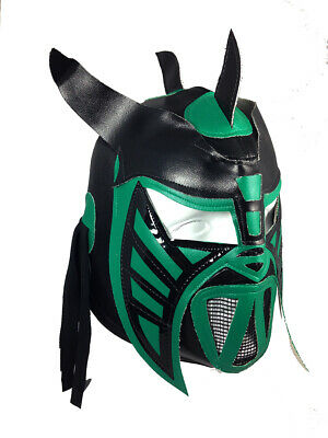 HYSTERIA (pro-fit) Mexican Lucha Libre Wrestling Halloween Mask - Black/Green