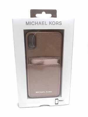 Michael Kors Saffiano Leather Pocket Case for iPhone X Ballet Rose Gold NEW