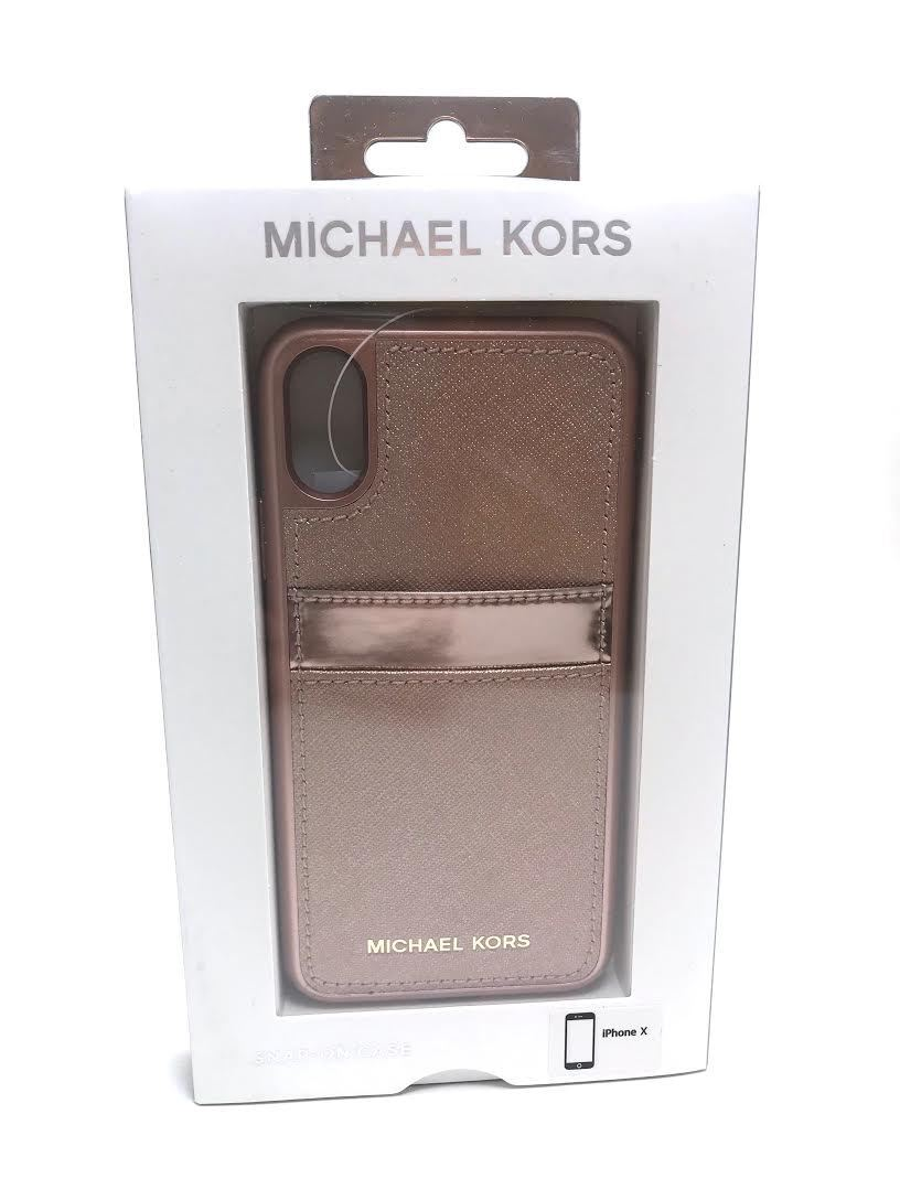 5fee2a2b0ad1fc Michael Kors Saffiano Leather Pocket Case for iPhone X Ballet Rose Gold NEW  фото