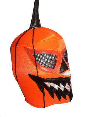 Jack O Lantern Costume (HALLOWEEN JACK O LANTERN (pro-fit) Adult Lucha Libre Halloween Costume Mask)