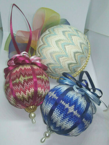 Set of 3 Gorgeous Needlepoint Cross Stitch Christmas Ball Ornaments Handmade
