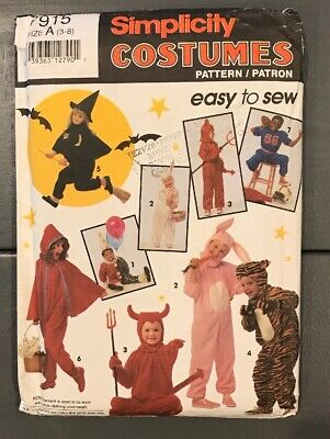 Simplicity easy to sew Pattern COSTUMES Halloween Childrens Size A (3-8) UNCUT](3 Easy Halloween Costumes)