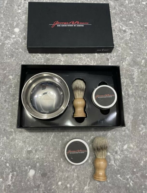 New James B. Beam Jim Black Shaving Gift Set w/ Extra Brush/Soap Gift Collection