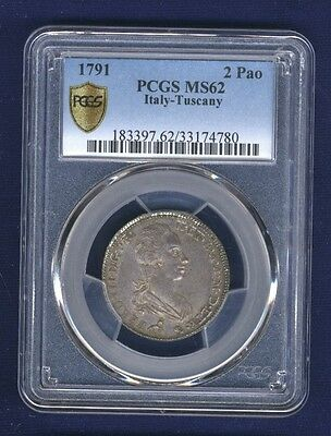 Click now to see the BUY IT NOW Price! ITALY TUSCANY 1791 2 PAOLI 16 CRAZIE UNCIRCULATED &  CERTIFIED PCGS MS62