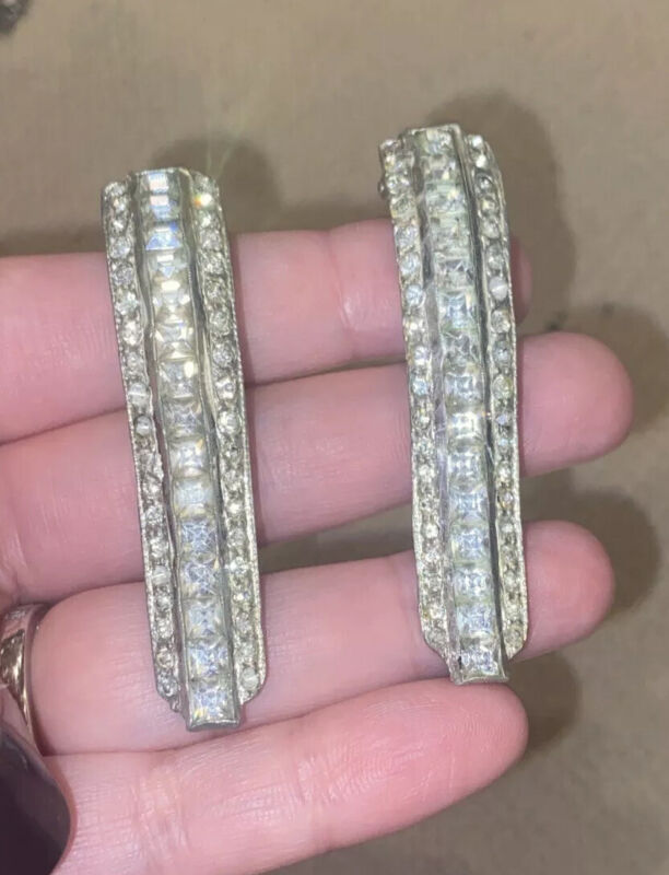 Antique Long Art Deco Clear Crystal Rhinestone Sparkle Shoe Dress Clips Wow!