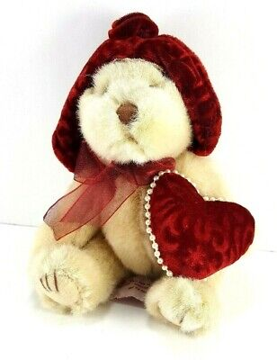 Valentine Tan Teddy Bear Pearl Heart Plush Stuffed Animal Russ Berrie Dutchess 8 - Valentine Animals