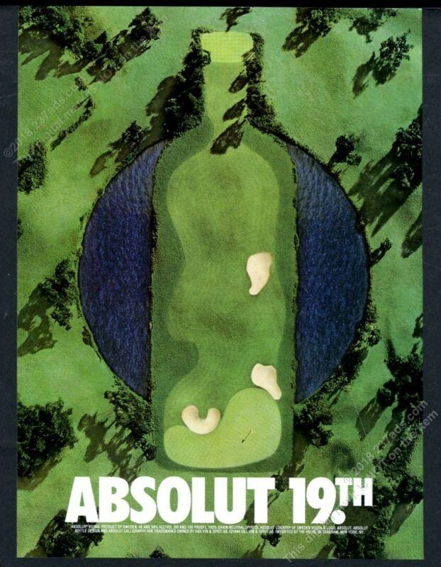 1996 Absolut 19th golf course hole vodka bottle art vintage print ad