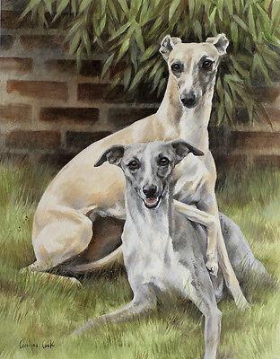 "WHIPPET HOUND DOG FINE ART PRINT  ""Two's Company"" - Brace"
